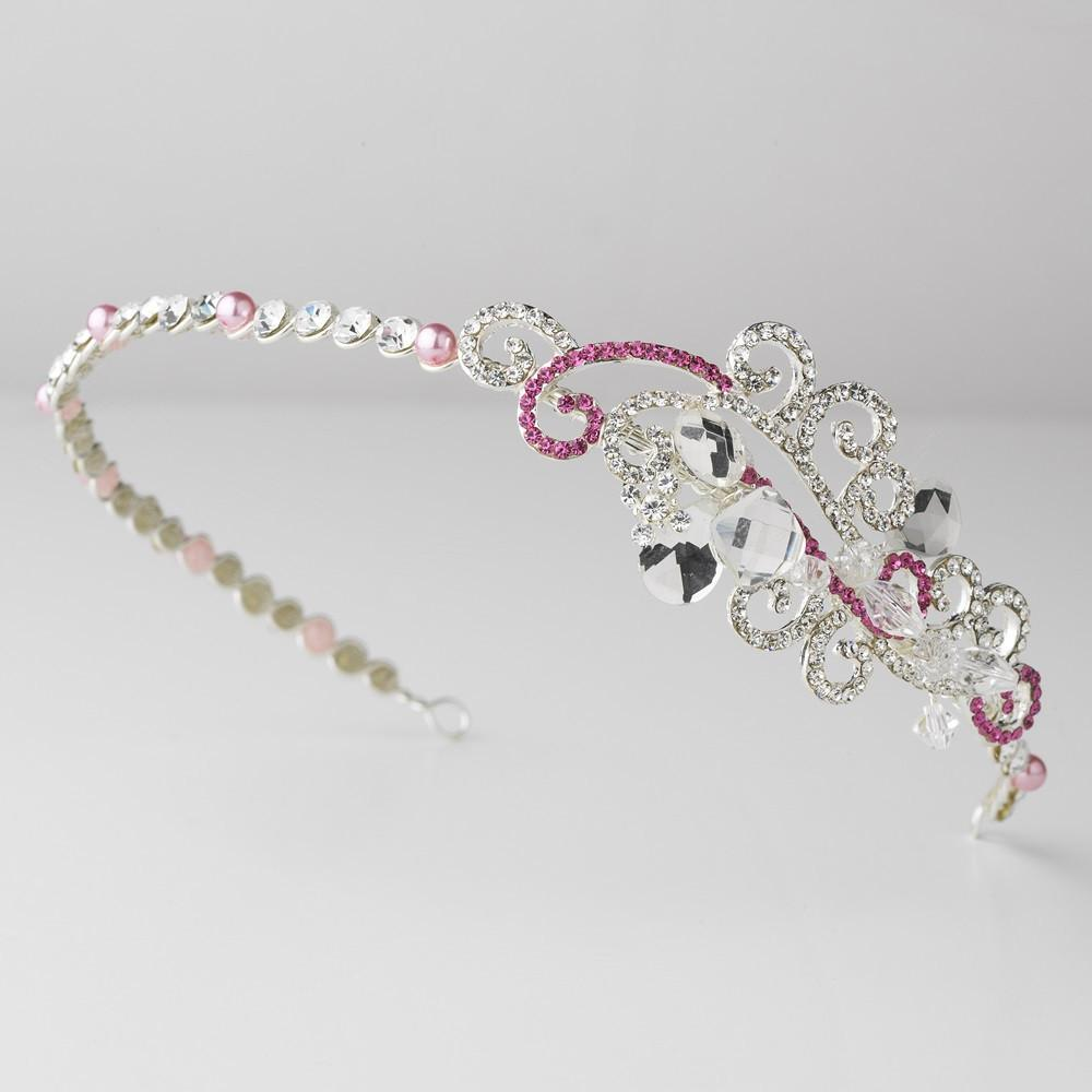 Pink Crystal Bridal Tiara Headband with Side Ornament - La Bella Bridal Accessories
