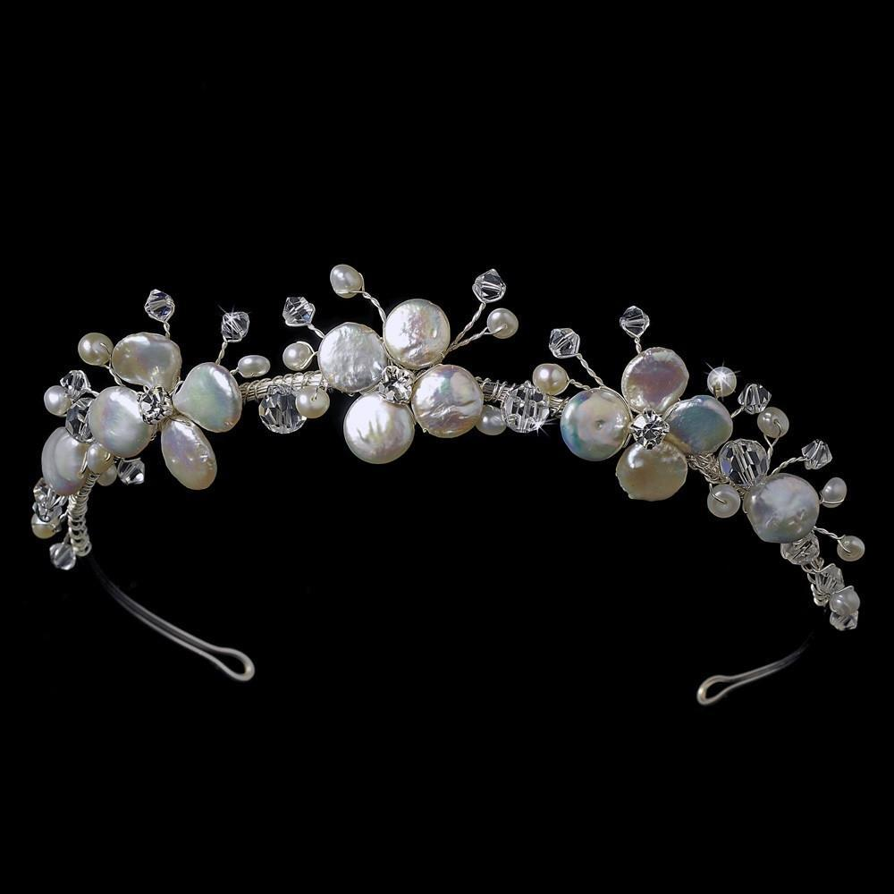 Floral Keshi Pearl Bridal Headpiece, Wedding Headpiece, Bridal headpieces