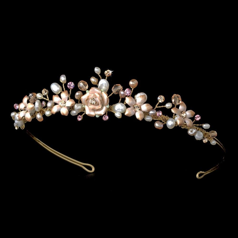 Gold Dusty Pink Porcelain Wedding Tiara - La Bella Bridal Accessories