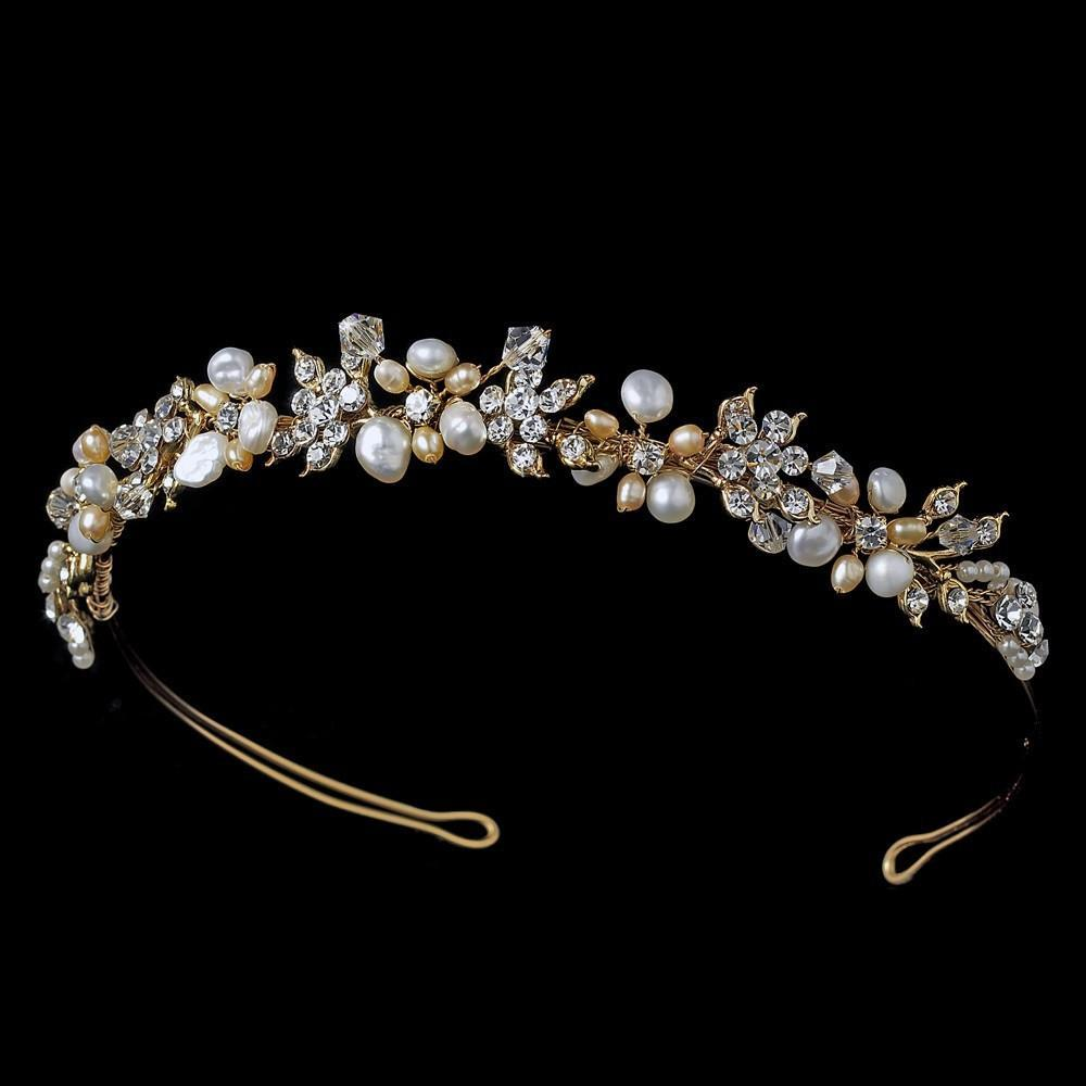 Gold Ivory & blush Freshwater Pearl Bridal Headband - La Bella Bridal Accessories