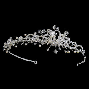 Freshwater Pearl & Crystal Side Accented Headband, Wedding Headpiece, Bridal headpieces