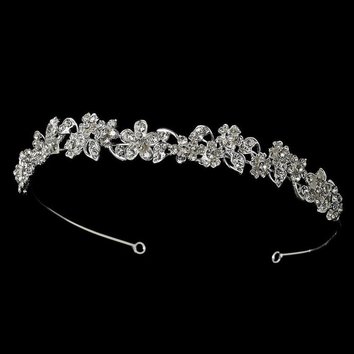 Charming Antique Silver Crystal Flower Headband - La Bella Bridal Accessories