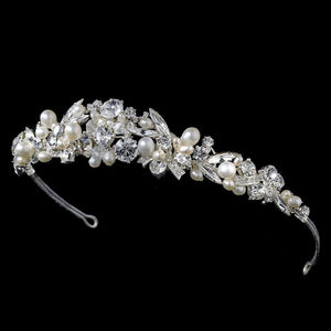 Silver and Ivory Pearl Bridal Tiara - La Bella Bridal Accessories