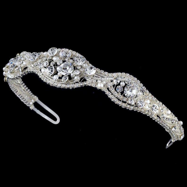 Silver and White Pearl Bridal Headband - La Bella Bridal Accessories