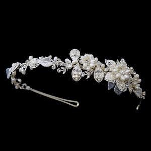 Silver Ivory Pearl & Crystal Floral Side Accented Bridal Headband - La Bella Bridal Accessories
