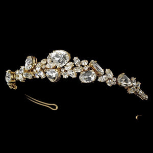 Gold Crystal Bridal Tiara - La Bella Bridal Accessories