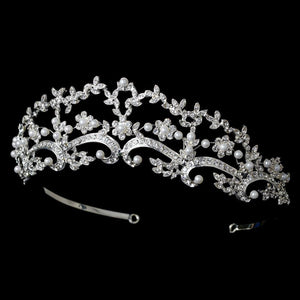 Beautiful Vintage inspired Pearl & Crystal Wedding Tiara - La Bella Bridal Accessories