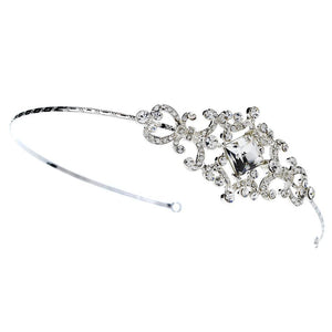 Silver Vintage Couture Crystal Bridal Side Accented Headband - La Bella Bridal Accessories