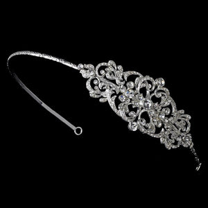 Exquisite Vintage Bridal Headband with Crystal Side Accent - La Bella Bridal Accessories