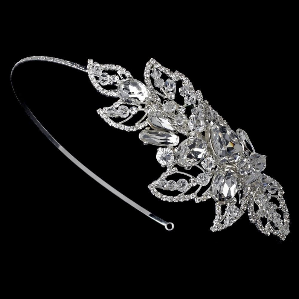 Silver Modern Crystal Couture Side Accented Headband - La Bella Bridal Accessories