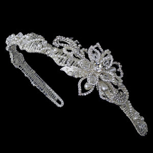 Pearl & Crystal Couture Side Accented Flower Bridal Headband - La Bella Bridal Accessories