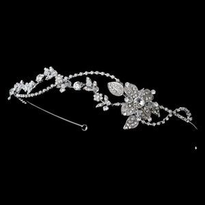 Rhodium Vintage Crystal Touched Bridal Headband - La Bella Bridal Accessories