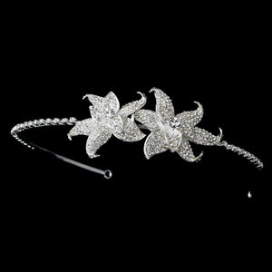 Elegant Silver Crystal Encrusted Flower Headpiece - La Bella Bridal Accessories