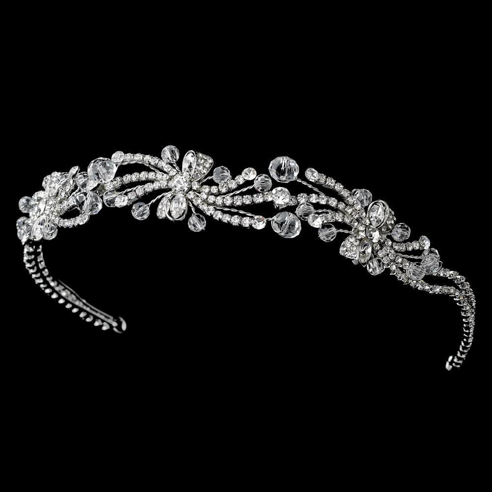 Floral Rhodium Flower Crystal Spray Headpiece - La Bella Bridal Accessories