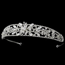 Fabulous Silver Plated Crystal Floral Headband - La Bella Bridal Accessories