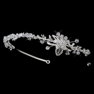 Silver Swarovski Crystal Floral Leaf Side Accented Headpiece - La Bella Bridal Accessories