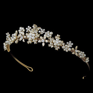 Gold & Ivory Pearl Floral Bridal Tiara - La Bella Bridal Accessories