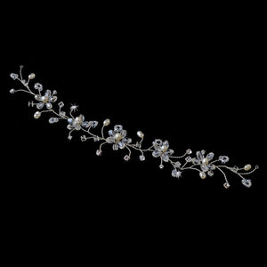Crystal & Pearl Bridal Flower Hair Vine Headband - La Bella Bridal Accessories