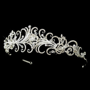Retro Look Silver Crystal Swirl Tiara Headband - La Bella Bridal Accessories