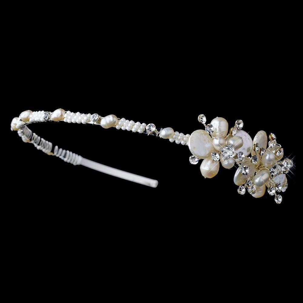 Silver Ivory Pearl and Crystal Bridal Headband - La Bella Bridal Accessories
