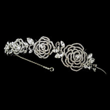 Antique Silver Crystal Flower Rose Headband - La Bella Bridal Accessories