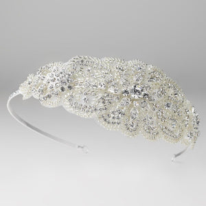 Silver Beaded Crystal Side Accented Fabric Headpiece - La Bella Bridal Accessories