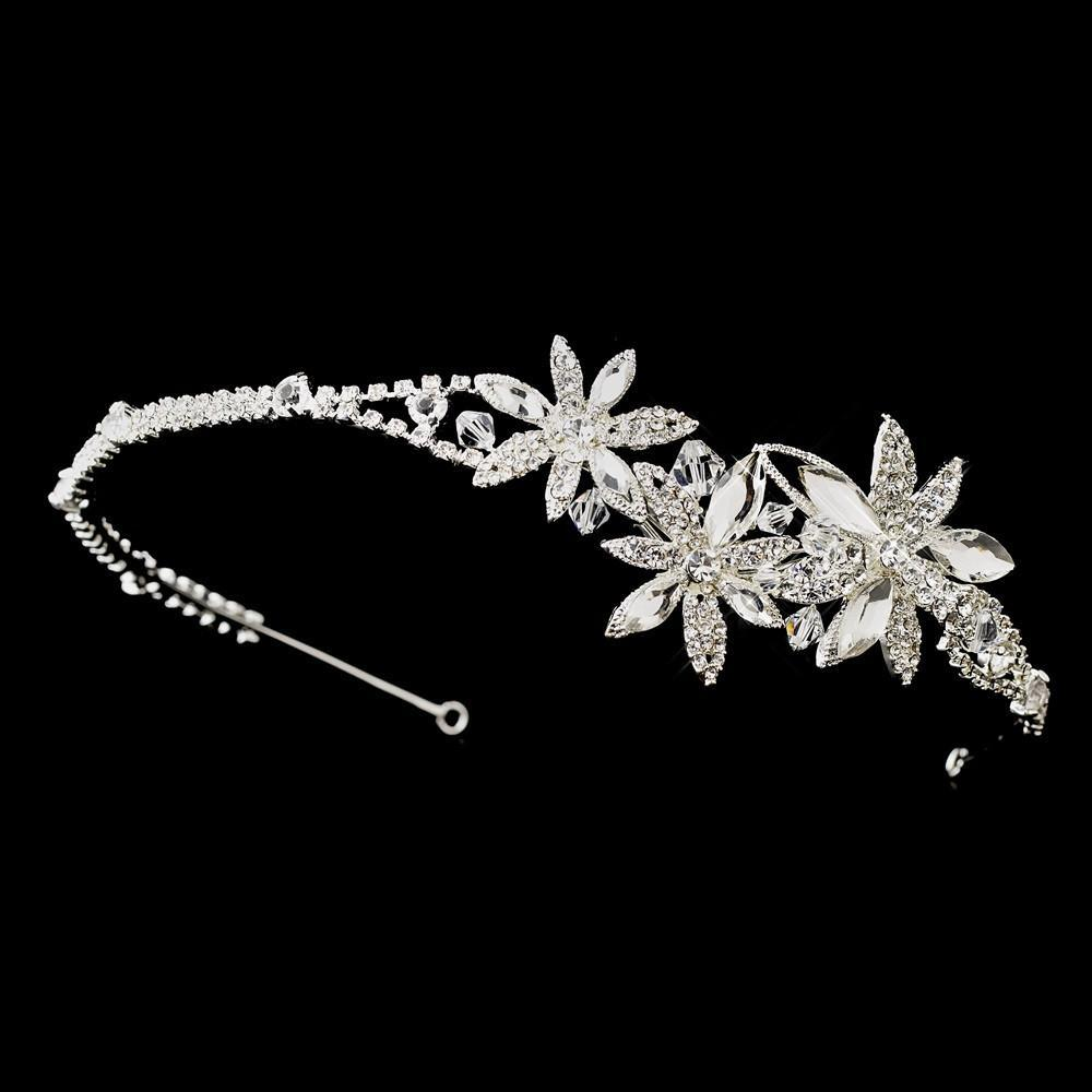 Triple Flower Accented Crystal Headband - La Bella Bridal Accessories