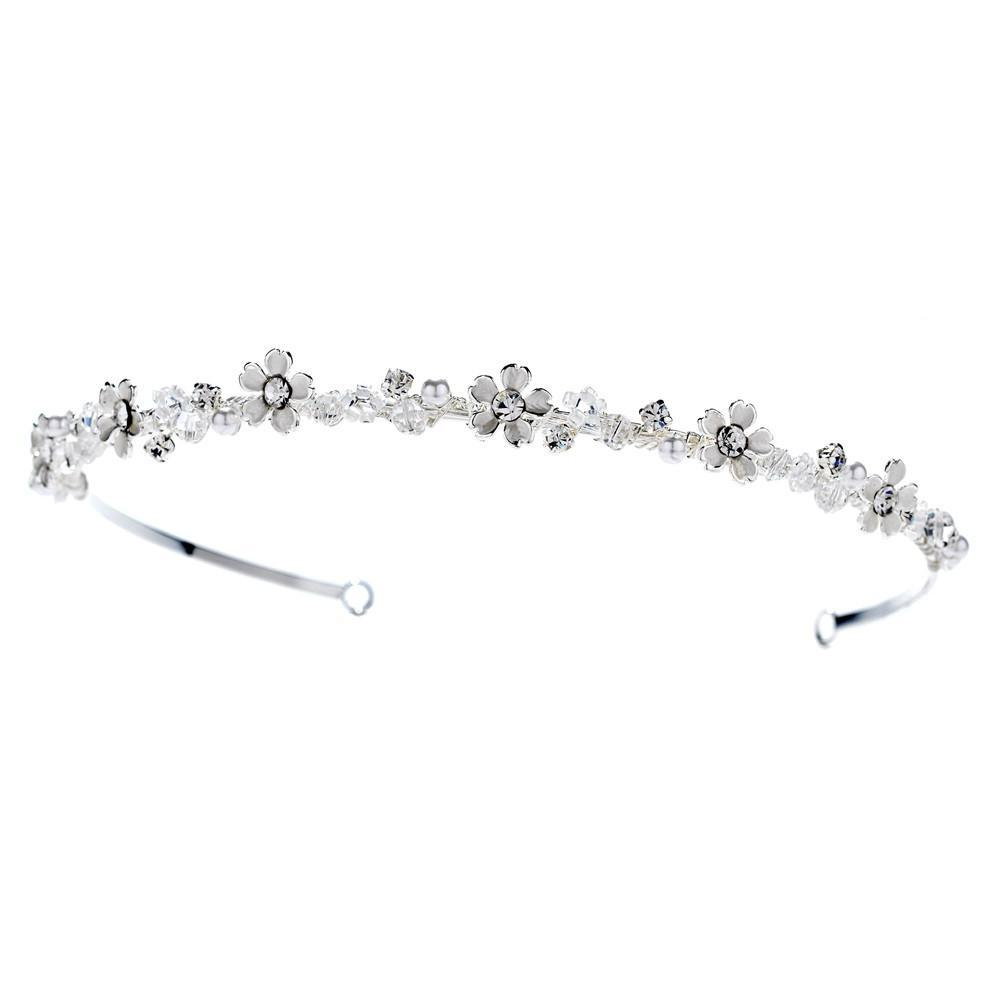 Pearl & Crystal Gold Headpiece - La Bella Bridal Accessories