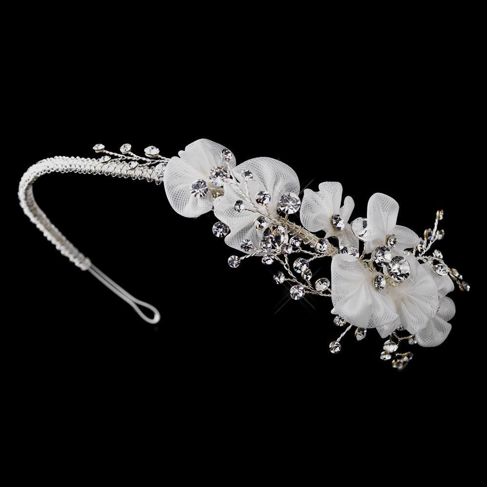 Vintage Inspired Ivory Antique Silver Crystal Headband - La Bella Bridal Accessories