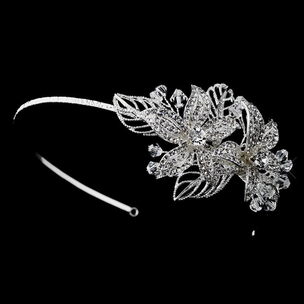 Crystal Side Accented Flower Headband, Wedding Headpiece, Bridal headpieces