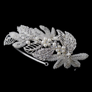 Antique Silver Crystal & Pearl Leaf Headpiece - La Bella Bridal Accessories