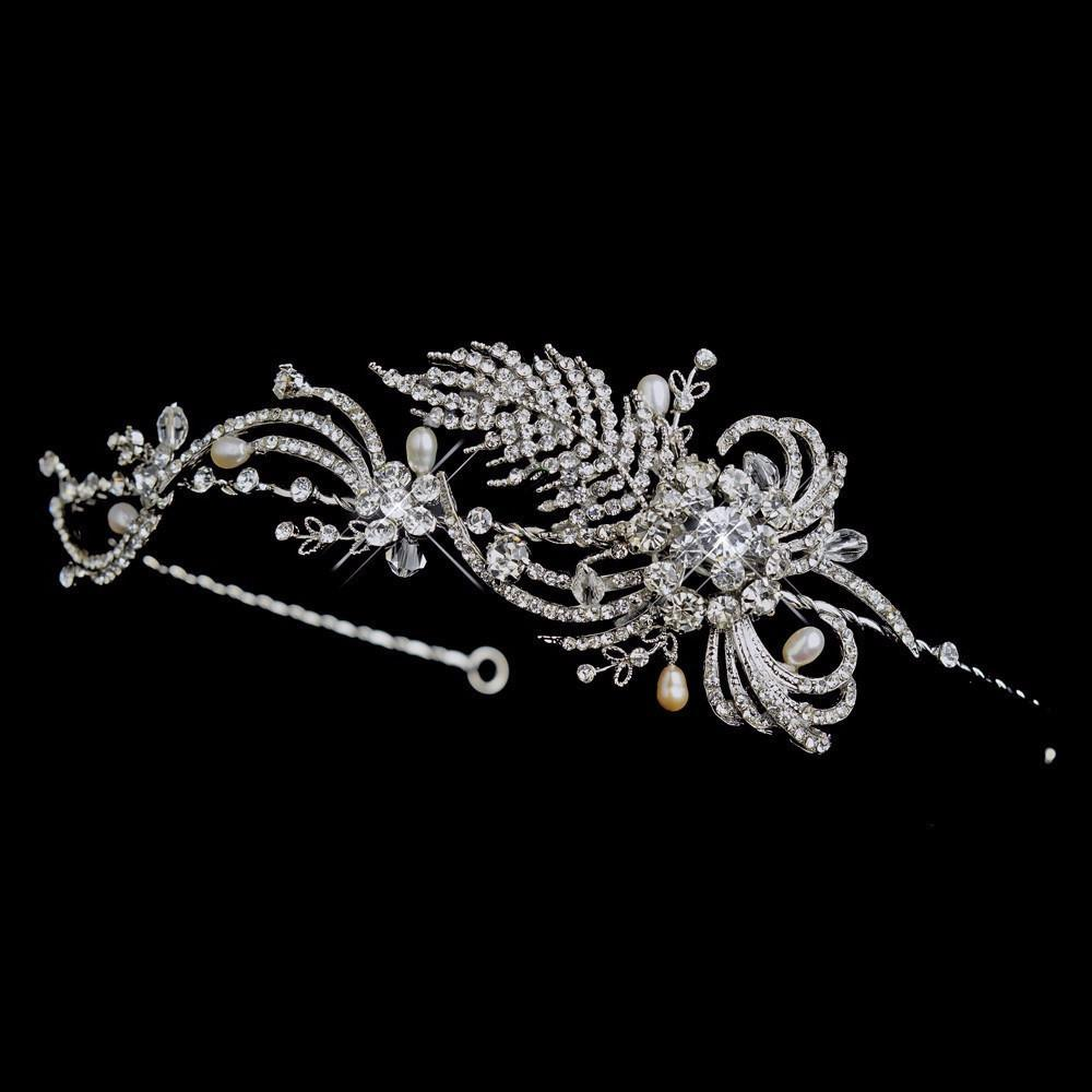 Antique Silver Crystal & Pearl Bridal Headpiece - La Bella Bridal Accessories