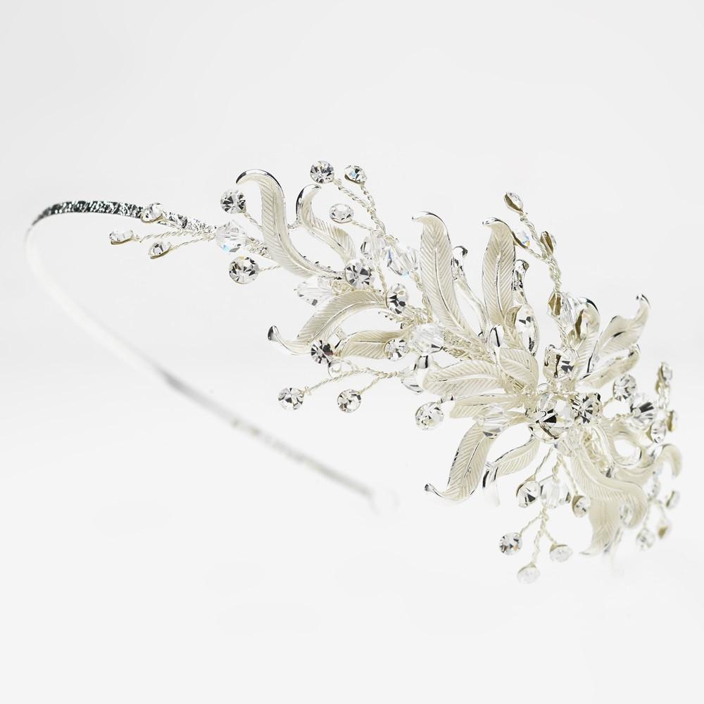 Silver Floral Vine Side Accented w/ Crystal Bead & Crystal Headband - La Bella Bridal Accessories