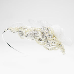 Exquisite Side Accented Crystal, Pearl & Ivory Tulle Headband - La Bella Bridal Accessories