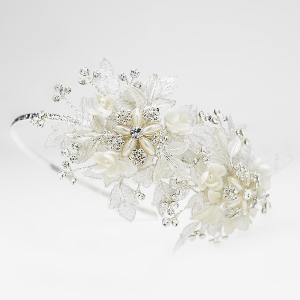 Diamond White Sparkle Flower Bridal Side Accented Headband - La Bella Bridal Accessories