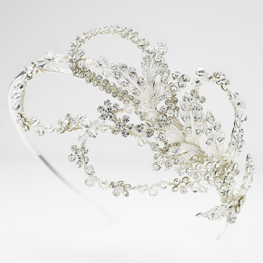 Extravagant Side Accented Crystal Leaf & Flower Petal Headband in Silver - La Bella Bridal Accessories