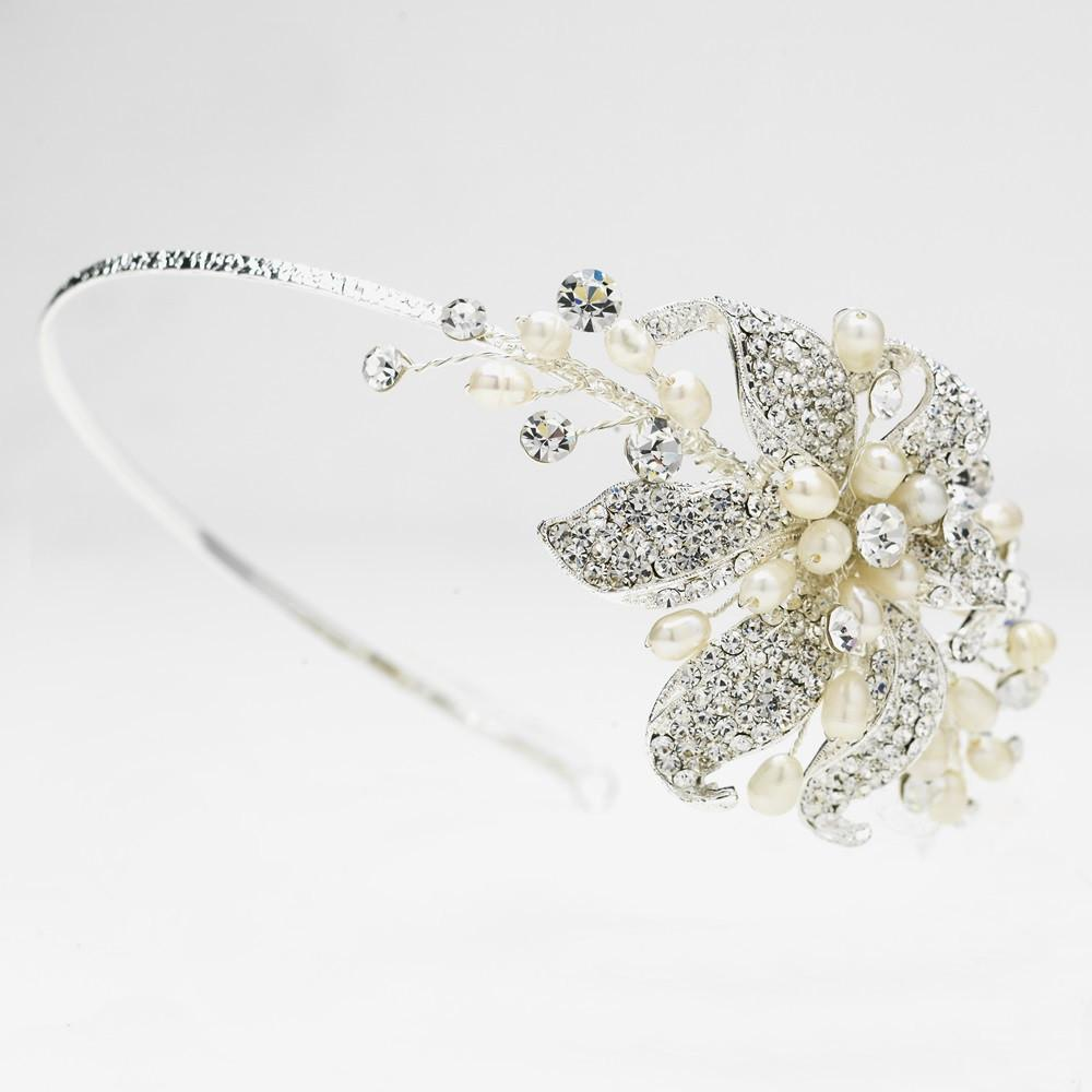 Silver Bridal Headband with Crystal & Ivory Pearl Side Accenting Flower - La Bella Bridal Accessories
