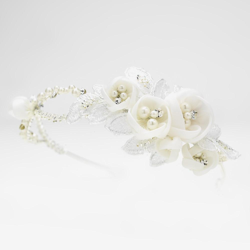 Ivory Floral Side Accented Bridal Headband in Silver - La Bella Bridal Accessories