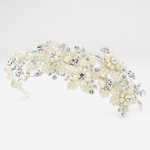 Silver Freshwater Pearl & Crystal Side Accent Headpiece - La Bella Bridal Accessories