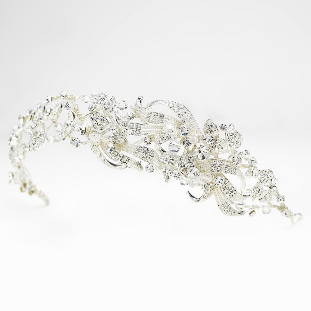 Silver Swarovski Crystal Bead & Crystal Side Accented Headband Headpiece - La Bella Bridal Accessories