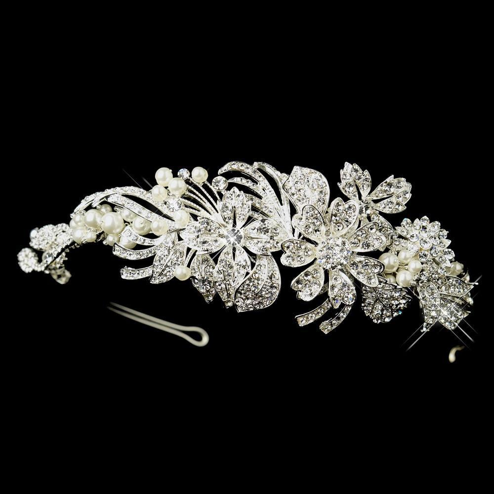 Silver Ivory Pearl & Crystal Flower Side Accented Headband Headpiece - La Bella Bridal Accessories