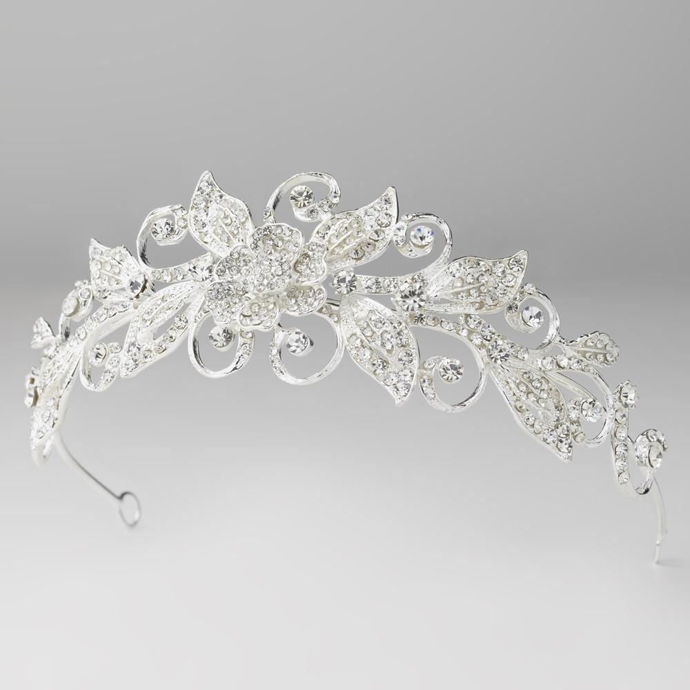 Silver Clear Crystal Floral Swirl Leaf Tiara, Wedding Headpiece, Bridal headpieces