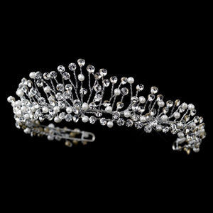 Antique Silver Diamond White Pearl & Crystal Tiara Headpiece - La Bella Bridal Accessories