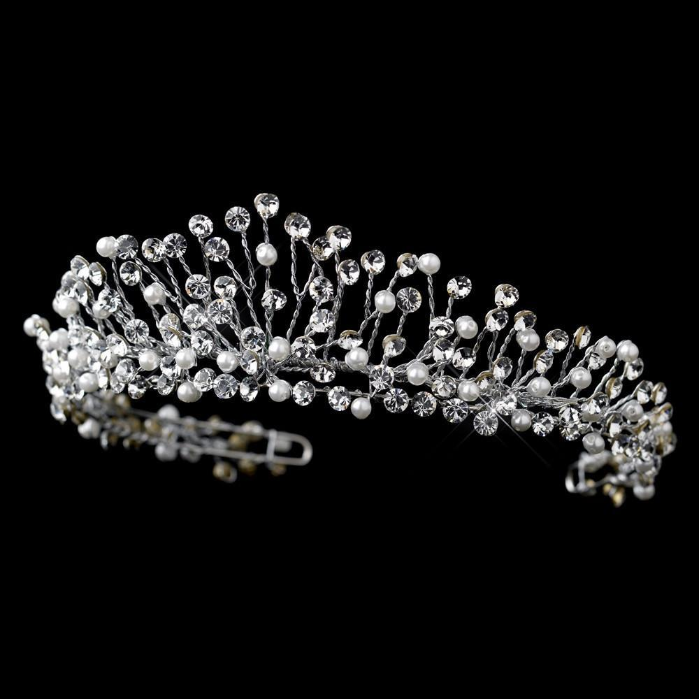 Antique Silver Crystal & Pearl Tiara Headpiece - La Bella Bridal Accessories