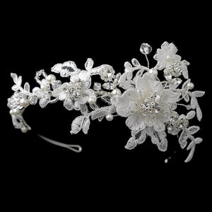 Pearls & Swarovski Crystal Embroidered Fabric Flower Side Accented Headband - La Bella Bridal Accessories