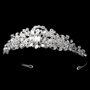 Swarovski Crystal Silver Plated wedding Tiara - La Bella Bridal Accessories