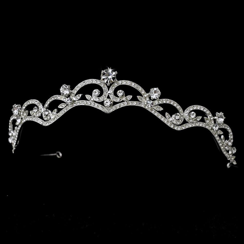 Sparkling Silver Crystal Wedding Tiara Headpiece - La Bella Bridal Accessories
