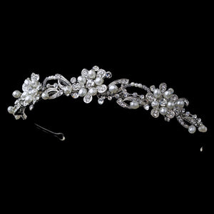 Crystal Pearl Flower Headpiece, Wedding Headpiece, Bridal headpieces