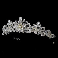 Silver Austrian Crystal Floral Wedding Tiara - La Bella Bridal Accessories