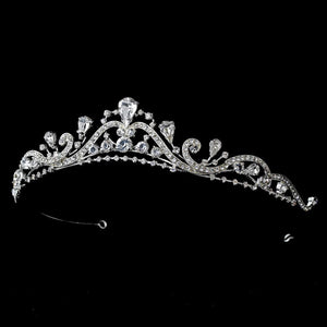 Lovely Silver, Swirl Crystal Bridal Tiara, Wedding Headpiece, Bridal headpieces